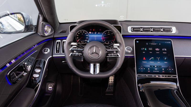 Mercedes-Benz S 350 d AMG Line, Interior, Cockpit, 2021, 5K, Wallpaper