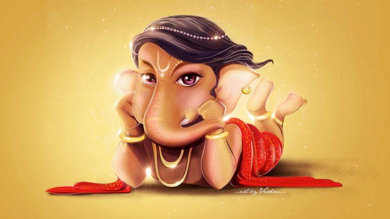 Lord Ganesha, Little Ganesha, Ganapati Bappa, Cute Ganesha, Yellow background, Hindu God, Wallpaper