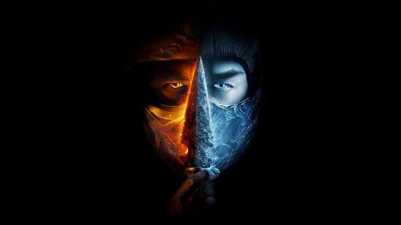 Mortal Kombat, 2021 Movies, Scorpion, Sub-Zero, Black background, 5K, 8K, Wallpaper