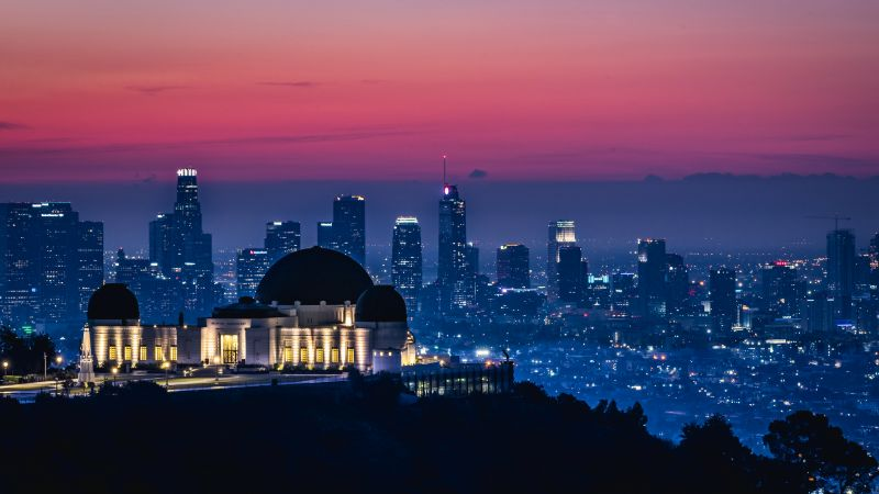 Griffith Observatory, Los Angeles, California, Sunrise, Pink sky, Dawn, Cityscape, City lights, Skyline, Skyscrapers, 5K, Wallpaper