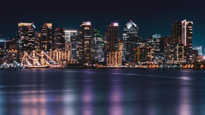 San Diego City, Cityscape, City lights, Night time, Skyline, Body of Water, Long exposure, Reflection, Skyscrapers, 5K, Wallpaper