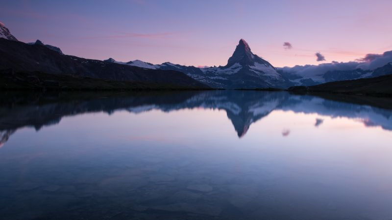 Matterhorn, Stellisee, Switzerland, Lake, Reflection, Evening sky, Landscape, Scenery, Clear sky, Swiss Alps, Clouds, Mountain Peak, 5K, Wallpaper