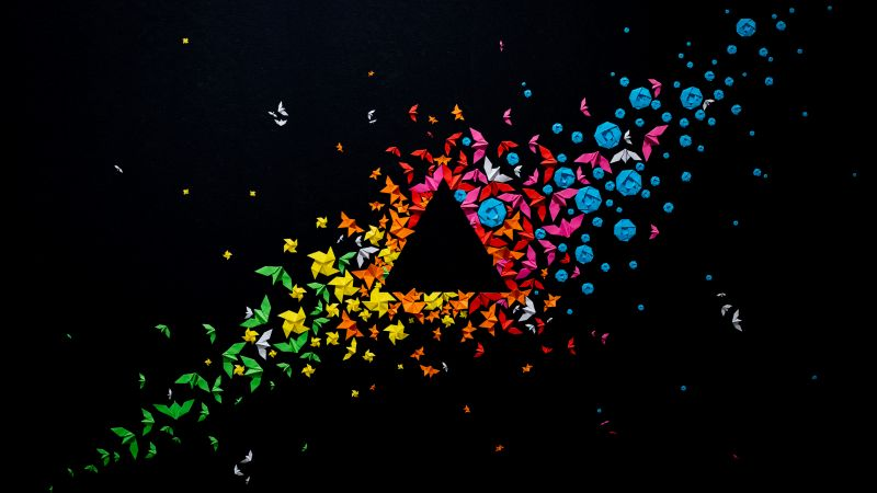 Paper Art, Origami, Panoply, Triangle, Geometrical, Multicolor, Colorful, Black background, Crafts, 5K, Wallpaper