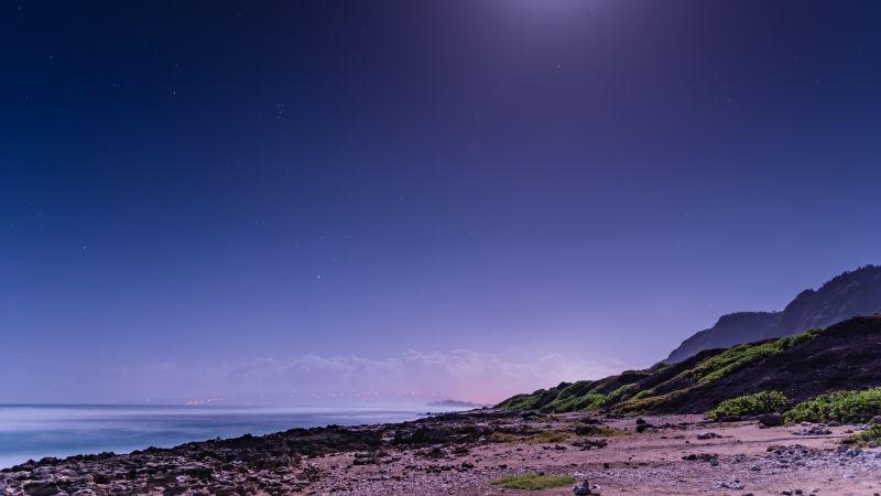 Moon light, Beach, Night sky, Seascape, 5K, Wallpaper