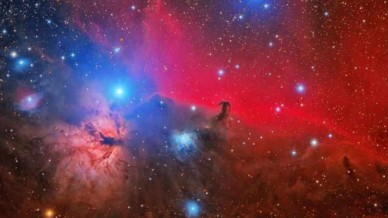 Horsehead Flame Nebula, Orion Constellation, Astronomy, Space Observation, Stars, Cosmology, Outer space, Wallpaper