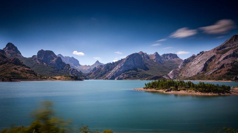 Picos de Europa, Spain, Mountain Range, Blue Sky, Landscape, Lake, Long Exposure, Daytime, Wallpaper