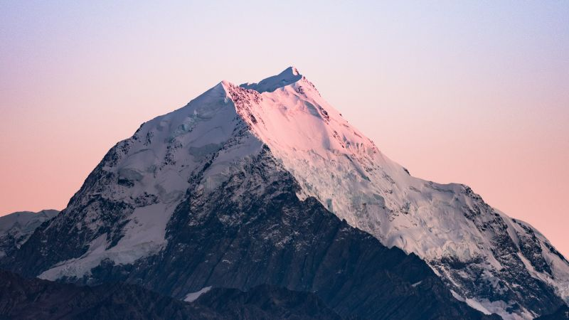 Glacier mountains, Snow covered, Mountain Peak, Daytime, Clear sky, Sunrise, Mount Cook, New Zealand, Mountain View, 5K, Wallpaper