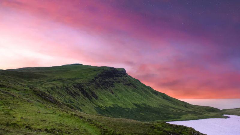 Isle of Skye, Scotland, Countryside, Shore, Sunset, Landscape, Scenery, Purple sky, Starry sky, Dusk, Coastline, 5K, Wallpaper