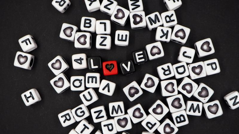 Letter Blocks, Love Symbols, Black background, Heart shape, Love text, Wallpaper