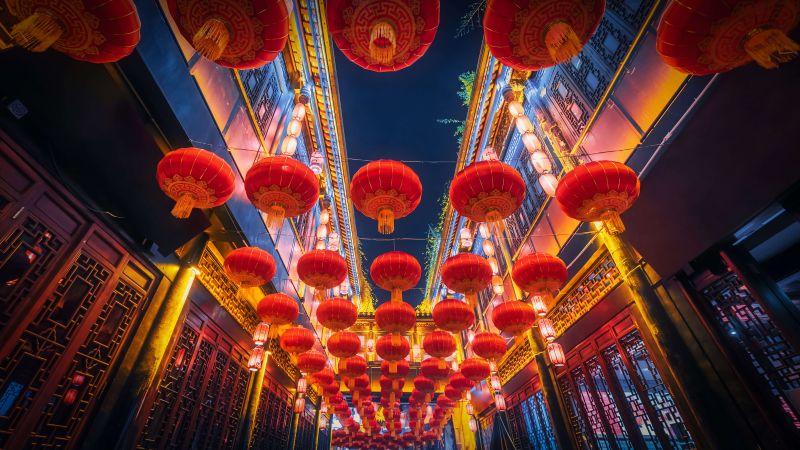 Lantern Festival, Chinese New Year, China, Lanterns, Night, 5K, Wallpaper