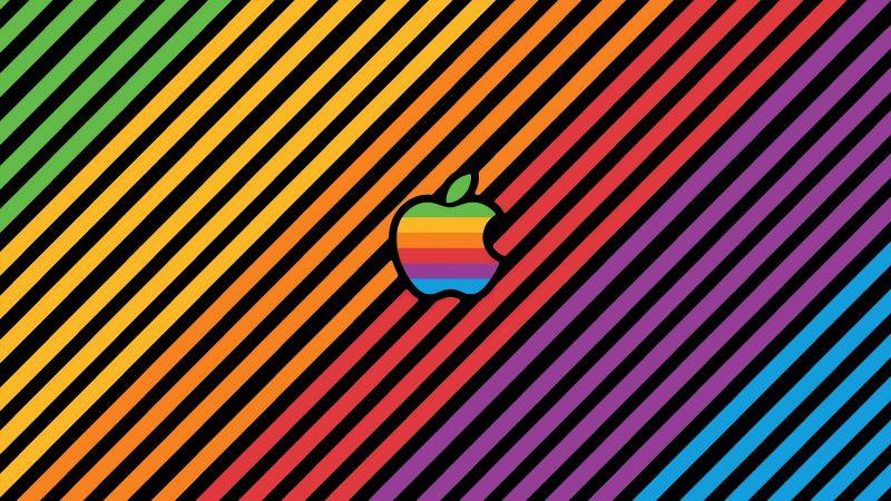 Apple, Colorful, Stripes, Multicolor, Apple logo, Aesthetic, 5K, Wallpaper