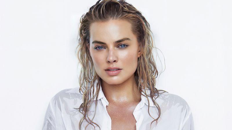 Margot Robbie, Australian actress, Beautiful actress, White background, 5K, Wallpaper