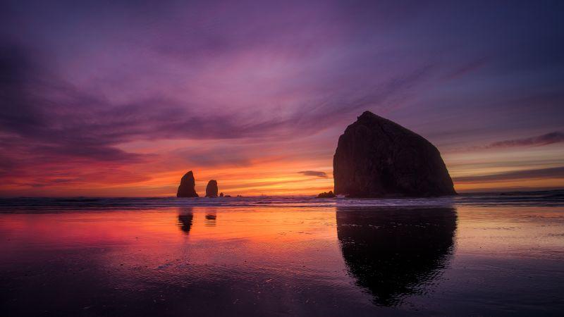 Oregon Coast, Sunset, Beach, Purple sky, Wallpaper