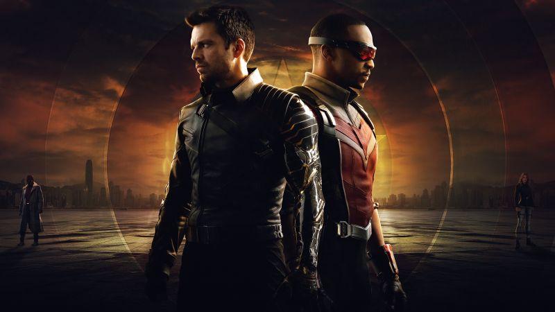 The Falcon and the Winter Soldier, TV series, Bucky Barnes, Sam Wilson, Marvel Comics, Marvel Cinematic Universe, 2021, 5K, Wallpaper