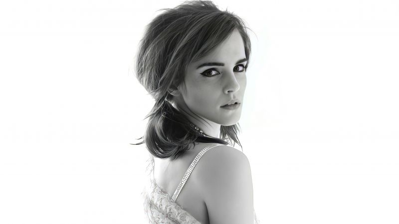 Emma Watson, Monochrome, Photoshoot, 5K, Wallpaper