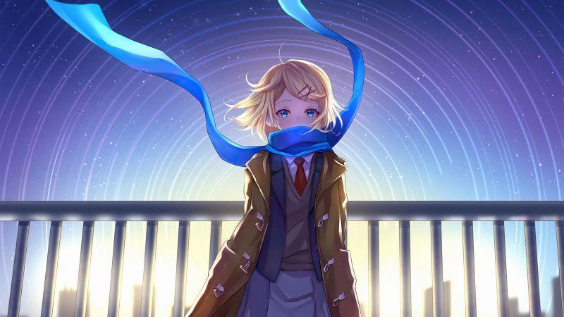Anime girl, School uniform, Star trail, Scarf, Wallpaper