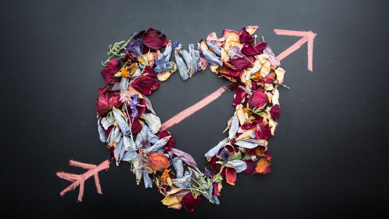 Love heart, Dark background, Flowers, Petals, Arrow, Chalkboard, 5K, Wallpaper