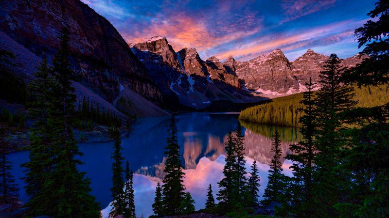 Moraine Lake, Banff National Park, Valley of the Ten Peaks, Mountain range, Sunset, Alpine trees, Landscape, Scenery, 5K, Wallpaper
