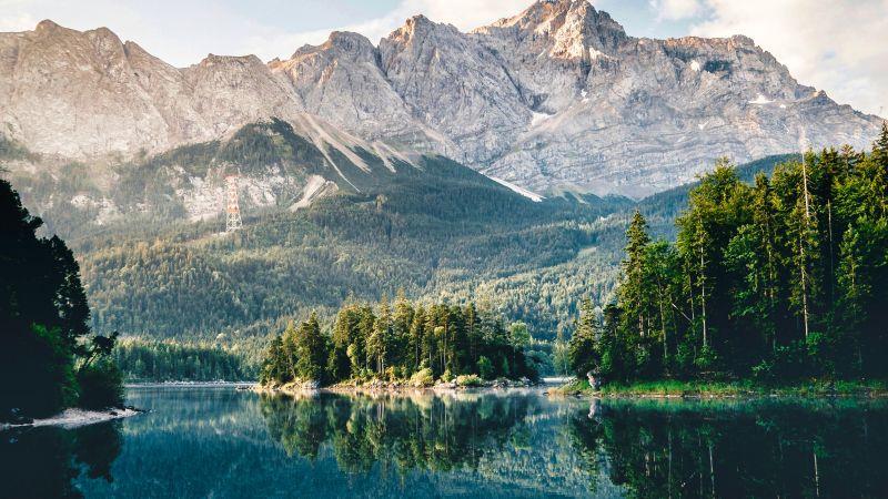 Lake, Mountains, Forest, Reflection, Scenery, Grainau, Deutschland, Wallpaper