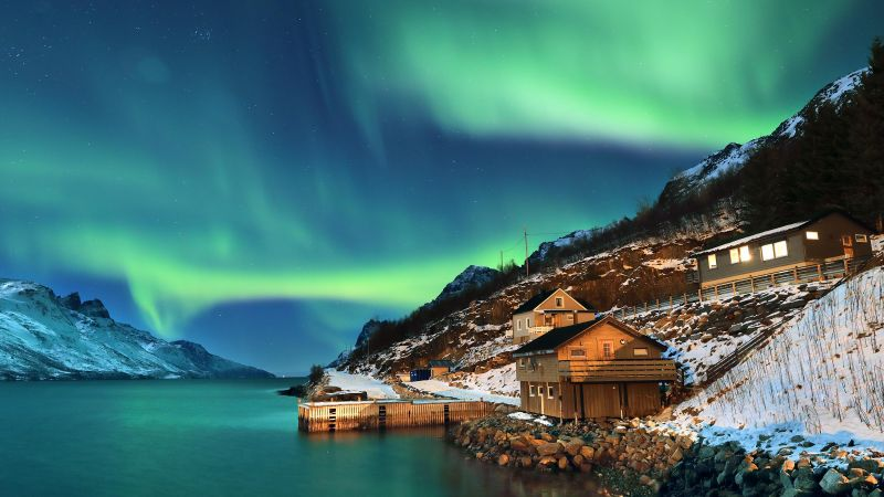 Northern Lights, Aurora Borealis, Norway, Night time, Stars, Snow covered, Mountains, Wooden House, Lake, Body of Water, Landscape, Scenery, Wallpaper