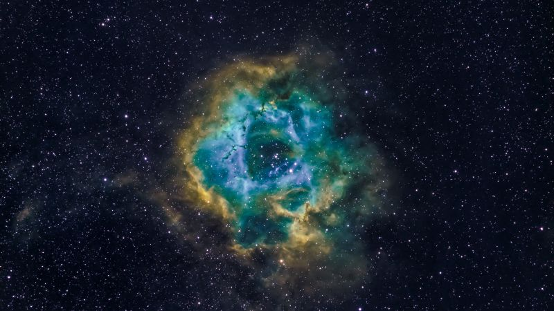 Rosette Nebula, Milky Way, Blue Galaxy, Hubble Palette, Astronomy, Stars, Outer space, Wallpaper