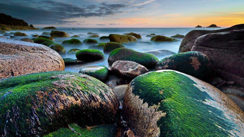 Porth Nanven, Cot Valley, Rocky coast, Beach, Green Moss, Seascape, Long exposure, Horizon, Cloudy Sky, Evening, Landscape, 5K, Wallpaper