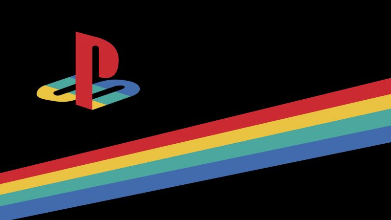 PlayStation, Retro, Logo, AMOLED, Minimal, Colorful, Ribbon, Black background, Wallpaper