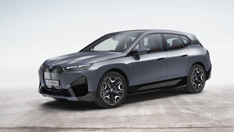 BMW iX xDrive50 Sport, Electric SUV, 2021, 5K, 8K, White background, Wallpaper