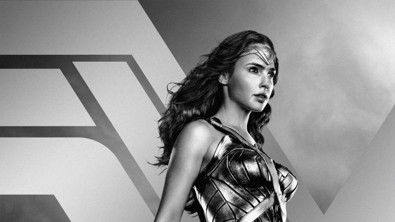 Zack Snyder's Justice League, 2021 Movies, Wonder Woman, Diana Prince, Gal Gadot, DC Comics, DC Superheroes, Monochrome, Wallpaper