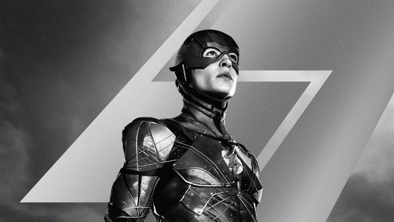 Zack Snyder's Justice League, 2021 Movies, The Flash, Barry Allen, Ezra Miller, DC Comics, DC Superheroes, Monochrome, Wallpaper