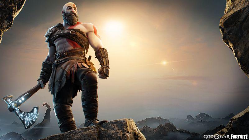 Kratos, God of War, Fortnite, Skin, Crossover, Wallpaper