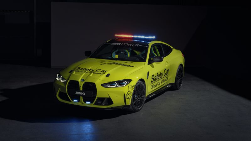 BMW M4 Competition, MotoGP Safety Car, 2021, Dark background, 5K, 8K, Wallpaper