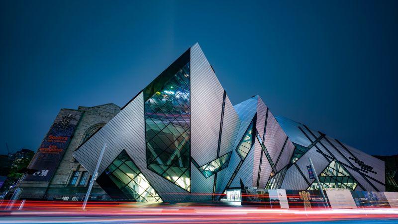 Royal Ontario Museum, Toronto, Modern architecture, Canada, 5K, Wallpaper