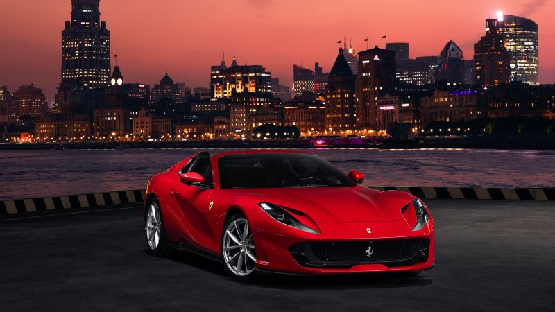 Ferrari 812 GTS, Red cars, 5K, Wallpaper