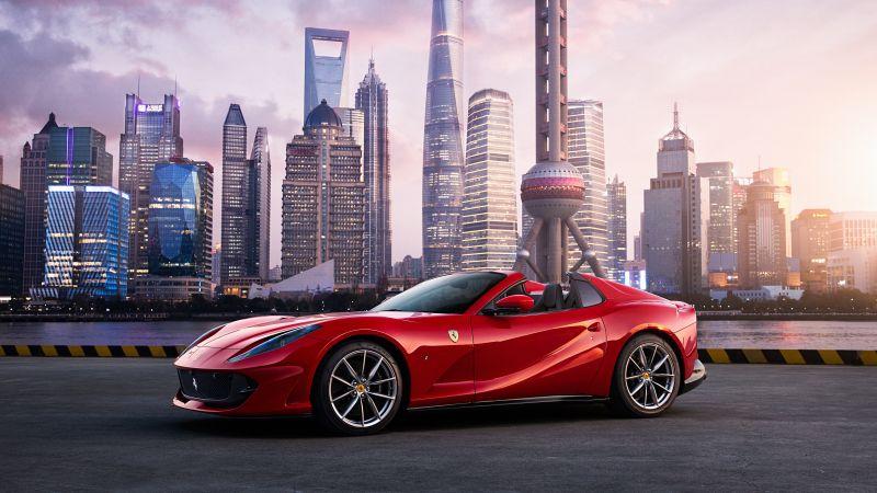 Ferrari 812 GTS, Red cars, Shanghai, Cityscape, Skyscrapers, 5K, Wallpaper