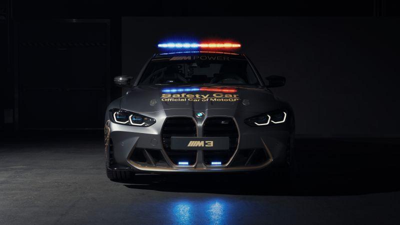 BMW M3 Competition, MotoGP Safety Car, 2021, Dark background, 5K, 8K, Wallpaper