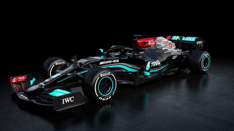 Mercedes-AMG F1 W12 E Performance, 2021, F1 2021, F1 Cars, Dark background, AMOLED, Wallpaper