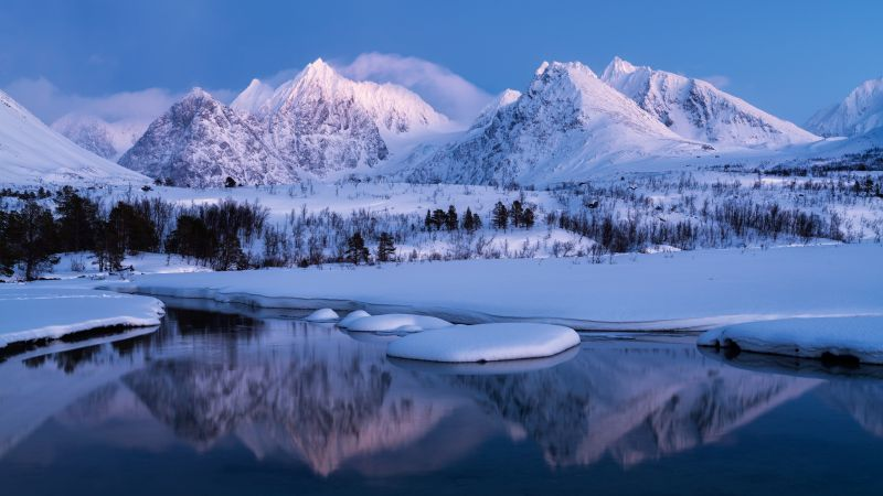 Winter Mountains, Landscape, Lake, Cold, Snow covered, Scenery, Norway, 5K, Wallpaper