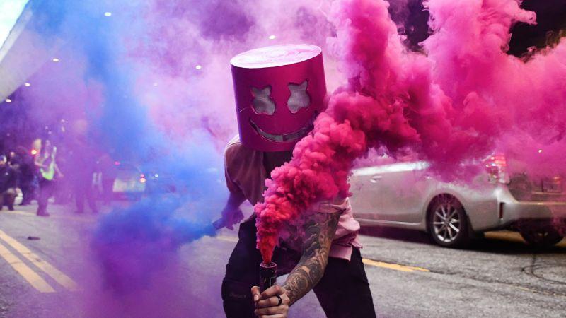Marshmello, Smoke, Mask, Street festival, Costume, 5K, Wallpaper