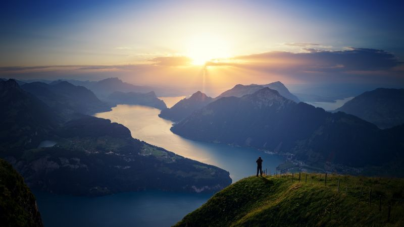 Lake Lucerne, Landscape, Mountains, Sunset, Switzerland, Wallpaper