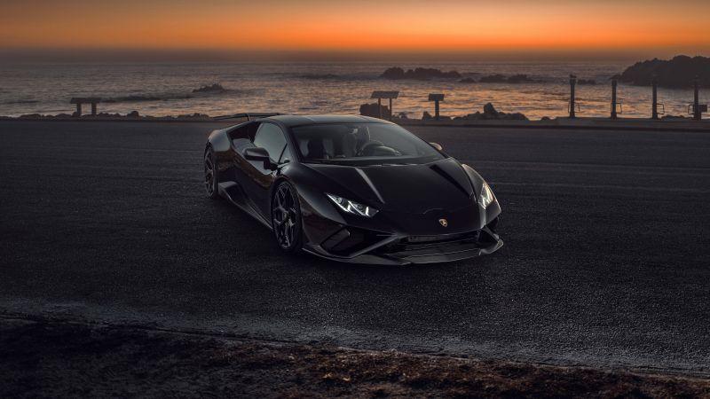 Novitec Lamborghini Huracán EVO RWD, Black cars, Sunset, 2021, 5K, 8K, Wallpaper