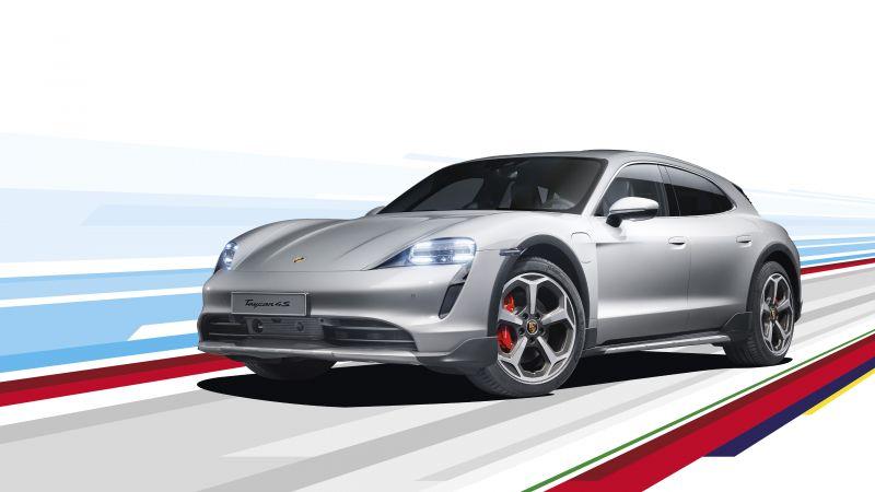 Porsche Taycan 4S Cross Turismo, White background, 2021, 5K, Wallpaper