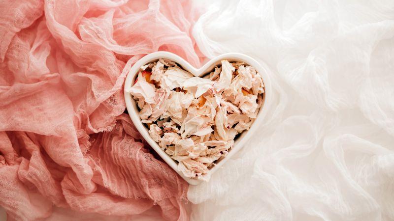 Love heart, Heart shape, Ceramic bowl, Cloth, Dry Leaves, Peach background, 5K, Wallpaper