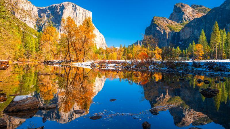 Yosemite National Park, Scenery, Landscape, Lake, Reflections, Autumn, Sunny day, Cliff, Rocks, California, 5K, Wallpaper