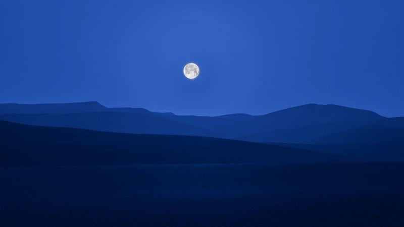 Full moon, Silhouette, Mountain range, Night sky, Landscape, 5K, Wallpaper