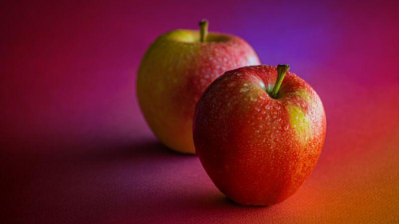 Red Apples, Dew Drops, Water drops, Pair, Fruits, Healthy, Gradient background, 5K, Wallpaper