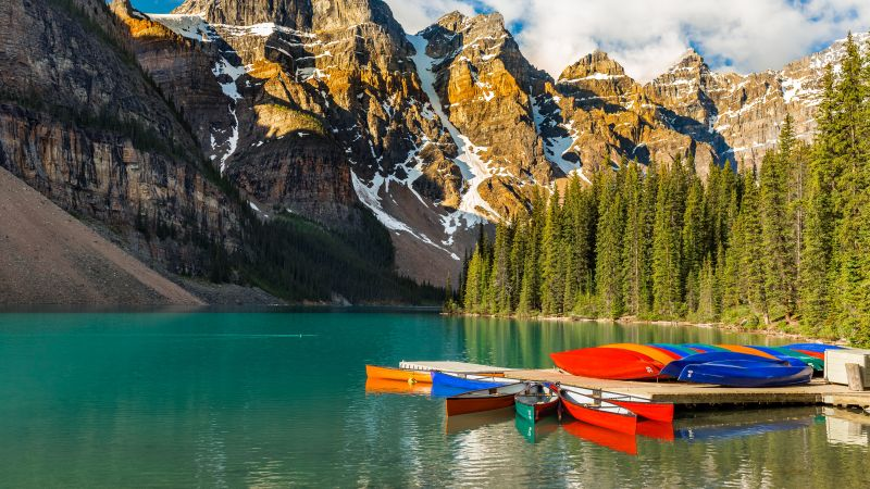 Moraine Lake, Kayak boats, Multicolor, Mountain range, Snow Covered, Day time, Cloudy Sky, Landscape, Scenery, Beautiful, Green Trees, 5K, Wallpaper