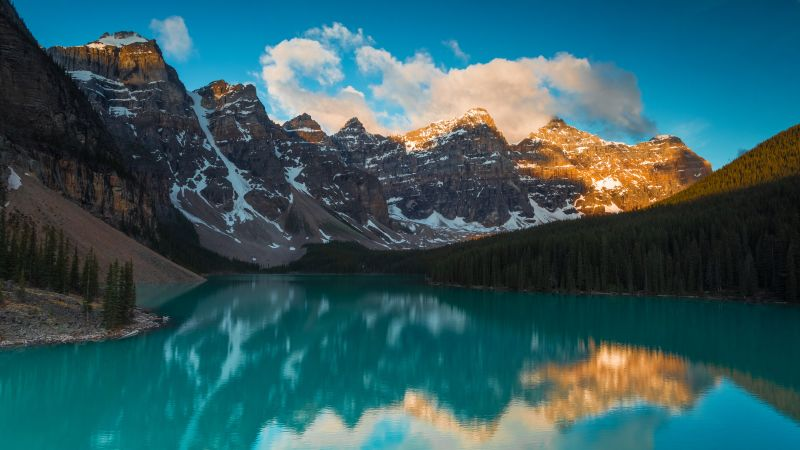 Moraine Lake, Alberta, Canada, Mountain range, Blue Sky, Clouds, Turquoise water, Reflection, Body of Water, Landscape, Scenery, Snow covered, 5K, Wallpaper