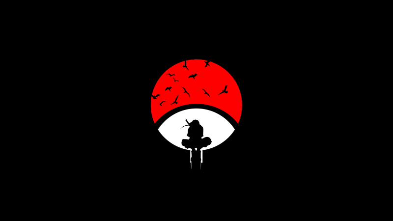 Itachi Uchiha, Naruto, Black background, Minimal art, AMOLED, Wallpaper