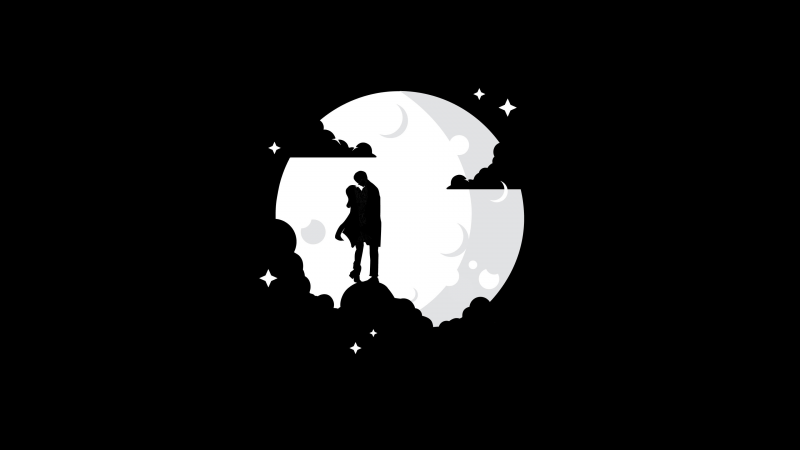 Couple, Silhouette, Moon, Black background, AMOLED, Wallpaper